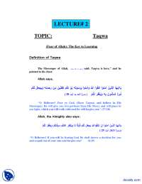 Taqwa Fear of Allah The Key to Learning-Fundamentals of Islam-Lecture Notes