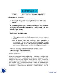 Honesty and Obligation-Fundamentals of Islam-Lecture Notes