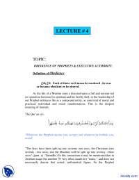 Obedience of Prophets and Executive Authorities-Fundamentals of Islam-Lecture Notes