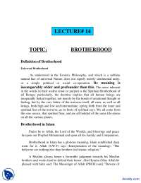 Brotherhood-Fundamentals of Islam-Lecture Notes
