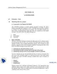 Estimation, Tools-Software Project Management-Lecture Notes