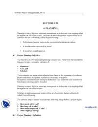 Planning, Project Planning Activities-Software Project Management-Lecture Notes