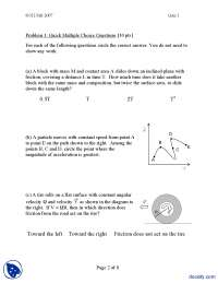 Free Body Diagrams-Classical Physics-Exam
