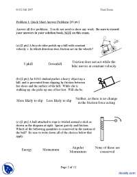 Friction-Classical Physics-Exam