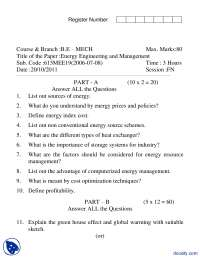 Conventional Energy, Storage Systems-Energy Management-Exam Paper