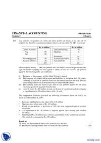 Share Profit-Financial Accounting-Exam Paper