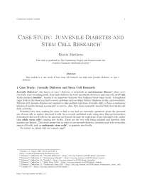 Case study junvenile diabetes and stem cell research, college study notes - stem cell research