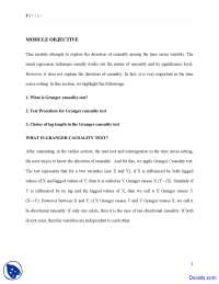 Granger Causality Test - Econometric Modeling - Lecture Notes
