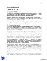 Problem Solving - Artificial Intelligence - Lecture Notes