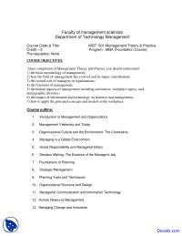 Management Theory and Practice - Management Sciences - Course Outline