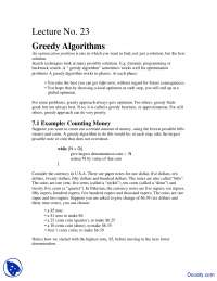 Greedy Algorithms, Counting Money - Design and Analysis - Study Notes