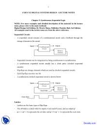 Synchronous Sequential Logic - Design and Analysis - Lecture Notes