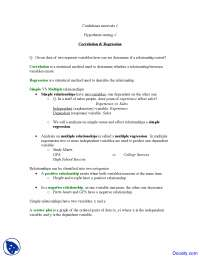Correlation and Regression - Introduction to Statistics - Lecture notes