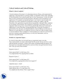 Critical Analysis and Critical Writing - Introduction Logic and Critical Reasoning - Lecture Notes