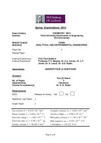 Underground Reservoir- Analytical and Environmental Chemistry  - Exam