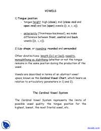 Vowels Cardinal - Introduction to Phonetics - Lecture Notes