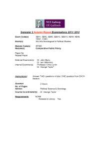 Provision of Blood - Comparative Public Policy - Exam