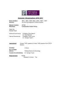 Food Safety Authority - Comparative Public Policy - Exam