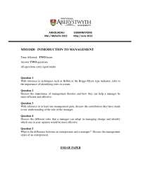 Management Theories - Introduction to Management - Past Exam