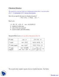 Chemical Kinetics - Physical Chemistry - Lecture Notes