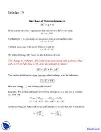 First Law of Thermodynamics - Physical Chemistry - Lecture Notes