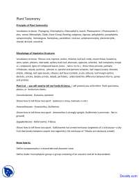 Principles of Plant Systematics - Plant Taxonomy - Lecture Notes