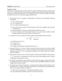 Continuous Random Variable - Probability and Statistics - Exam