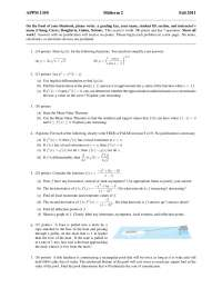 Mean Value Theorem - Calculus One for Engineers - Exam