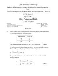Flow Regime - Particles and Fluids - Old Exam Paper