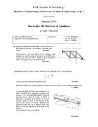 Method of Sections - Mechanics of Machines and Materials - Exam
