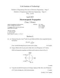 voltage transfer function - Electromagnetic Propogation - Exam