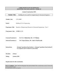 Thermal Comfort - Building Services and Fire Engineering - Past Exam