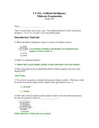 Artificial Intelligence - Artificial Intelligence - Solved Exam