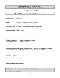 Differentiation Derive - Electrical Utility and Power Systems - Past Exam Paper