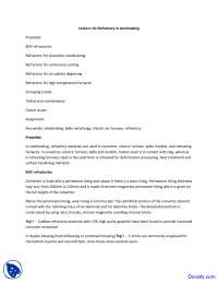 Refractory in Steelmaking - Steel Making - Lecture Notes