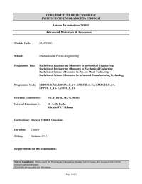 Aerospace to Domestic - Advanced Materials and Process - Past Exam Paper