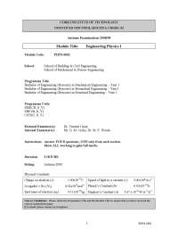 Atomic Number - Engineering Physics - Past Exam Paper