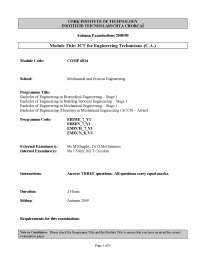 Building Energy Rating - ICT for Engineering - Past Exam Paper