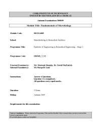 Microbiology Laboratory - Fundamentals of Microbiology - Past Exam Paper