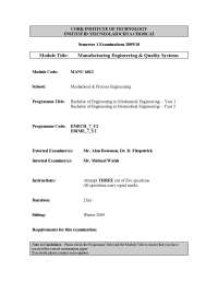 Clearance Fit - Manufacturing and Quality Engineering - Past Exam Paper