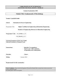 Aseptic Technique - Fundamentals of Microbiology - Past Exam Paper