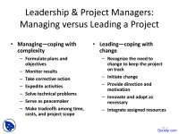 Leadership and Project Managers - Technical Communication - Lecture Slides