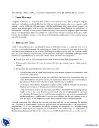 Coase Theorem - Economics of Law - Lecture Notes
