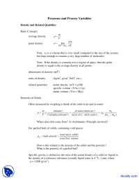 Processes and Process Variables - Chemical Process Principles and Calculations - Lecture Notes