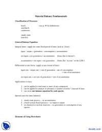 Material Balance Fundamentals - Chemical Process Principles and Calculations - Lecture Notes