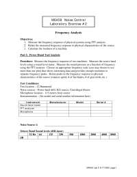 Frequency Analysis - Noise Control - Lab Manual