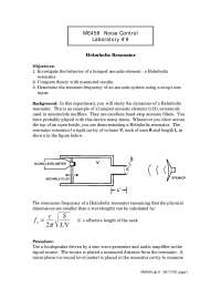 Helmholtz Resonator - Noise Control - Lab Manual