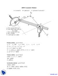 RSPU Geometric Method - Computer-Aided Analysis of Machine Dynamics - Lecture Notes