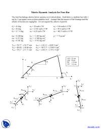 Matrix Dynamic Analysis for Four Bar - Simulation of Mechanical Systems - Lecture Notes
