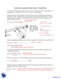 Static Force Analysis for Skid Loader - Simulation of Mechanical Systems - Lecture Notes